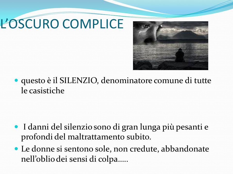 LOSCURO COMPLICE questo è il SILENZIO, denominatore comune di tutte le casistiche I danni del silenzio sono di gran lunga più pesanti e profondi del m