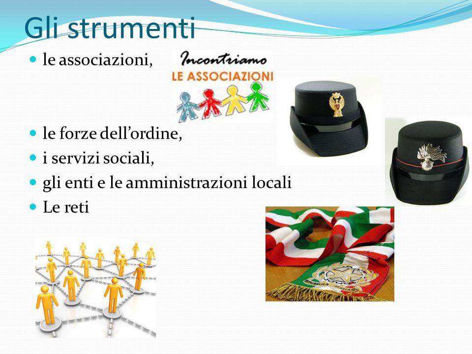 Gli strumenti le associazioni, le forze dellordine, i servizi sociali, gli enti e le amministrazioni locali Le reti