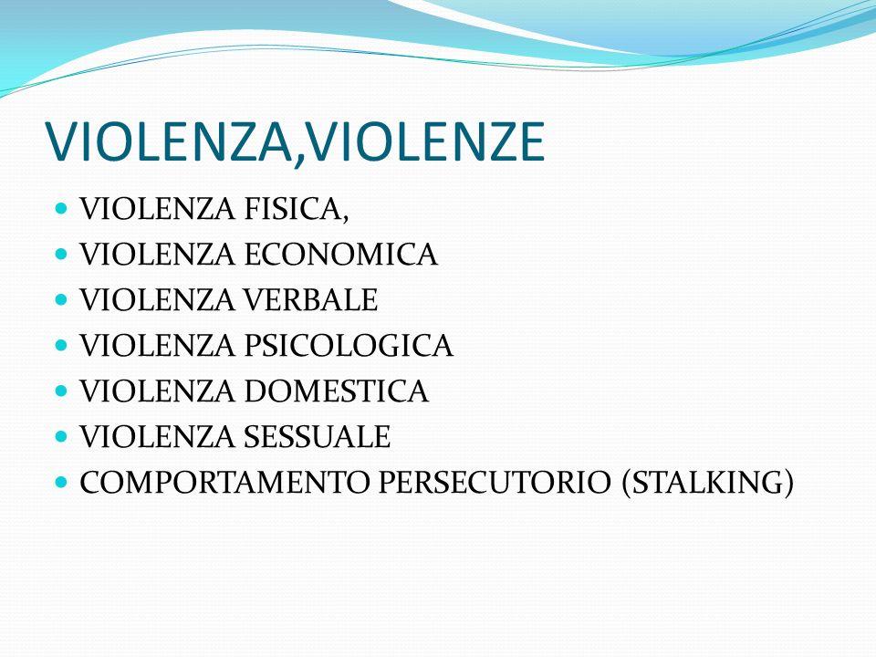 VIOLENZA,VIOLENZE VIOLENZA FISICA, VIOLENZA ECONOMICA VIOLENZA VERBALE VIOLENZA PSICOLOGICA VIOLENZA DOMESTICA VIOLENZA SESSUALE COMPORTAMENTO PERSECU