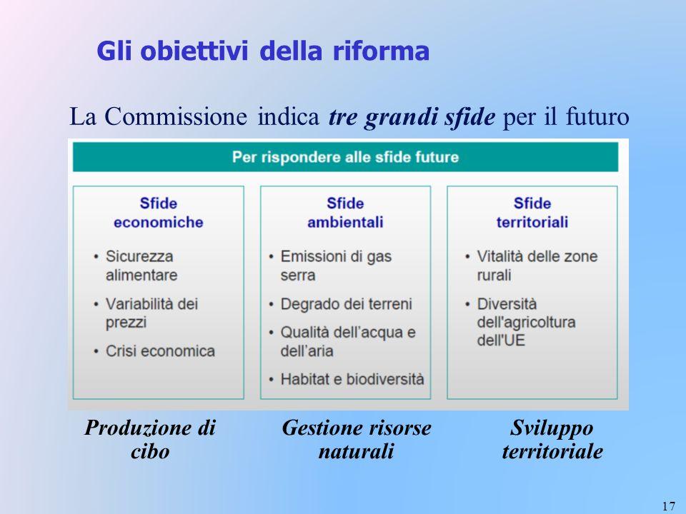 17 Gli obiettivi della riforma La Commissione indica tre grandi sfide per il futuro Sviluppo territoriale Produzione di cibo Gestione risorse naturali