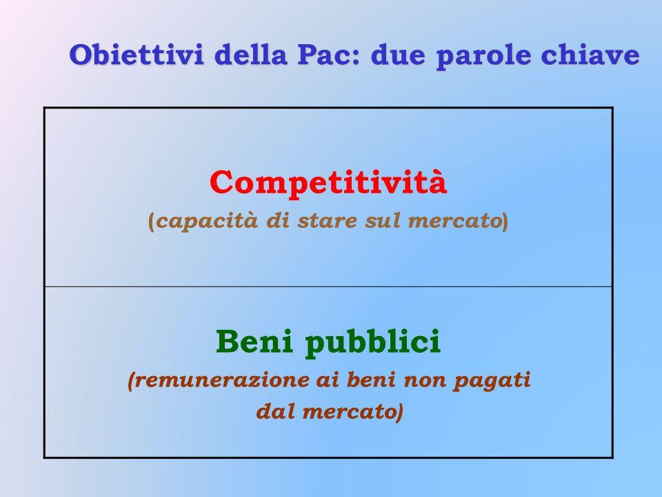 Obiettivi della Pac: due parole chiave Competitività ( capacità di stare sul mercato ) Beni pubblici (remunerazione ai beni non pagati dal mercato)