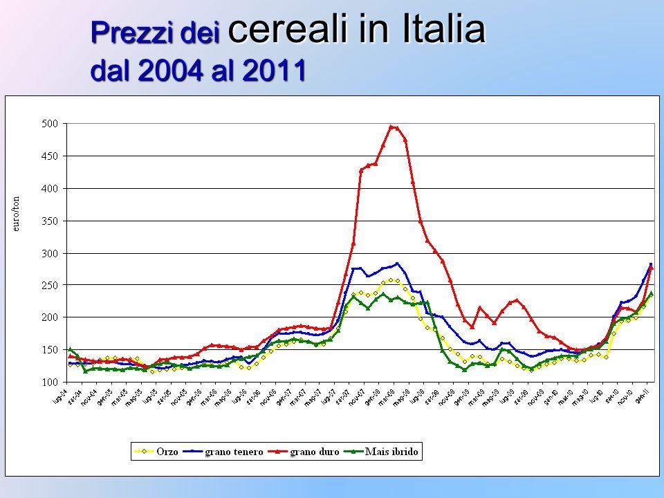 Prezzi dei cereali in Italia dal 2004 al 2011