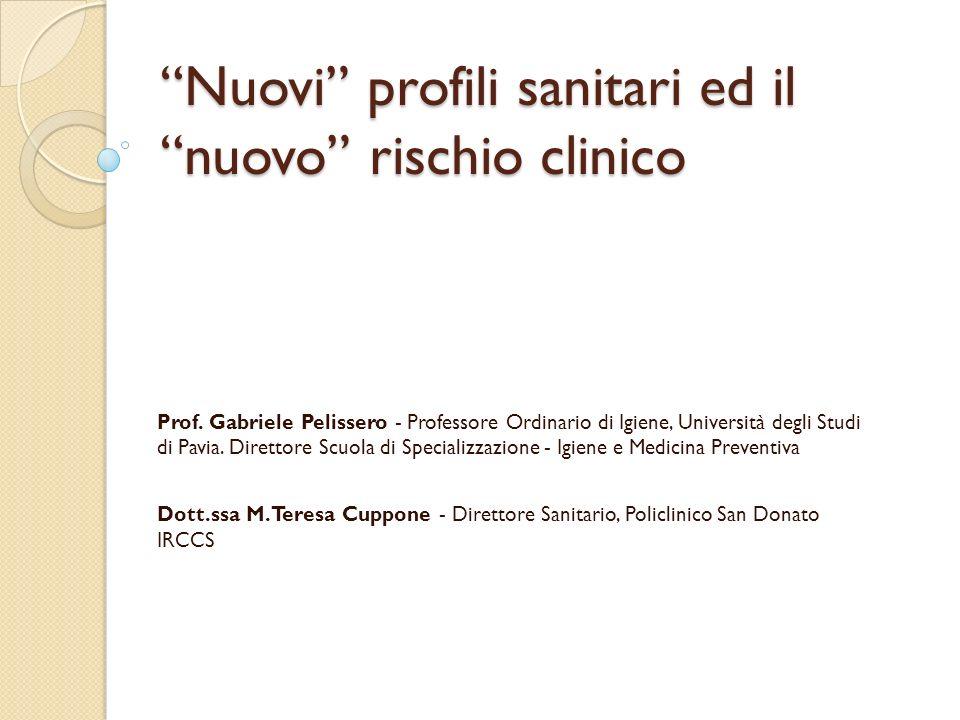 Nuovi profili sanitari ed il nuovo rischio clinico Prof. Gabriele Pelissero - Professore Ordinario di Igiene, Università degli Studi di Pavia. Diretto