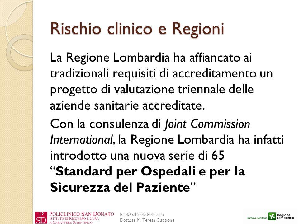 Prof. Gabriele Pelissero Dott.ssa M. Teresa Cuppone Rischio clinico e Regioni La Regione Lombardia ha affiancato ai tradizionali requisiti di accredit
