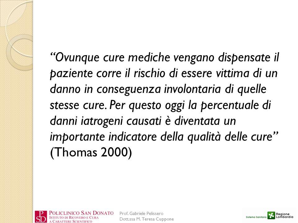 Prof. Gabriele Pelissero Dott.ssa M. Teresa Cuppone Ovunque cure mediche vengano dispensate il paziente corre il rischio di essere vittima di un danno