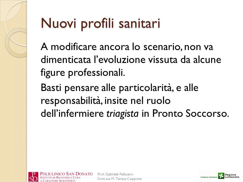 Prof. Gabriele Pelissero Dott.ssa M. Teresa Cuppone Nuovi profili sanitari A modificare ancora lo scenario, non va dimenticata levoluzione vissuta da