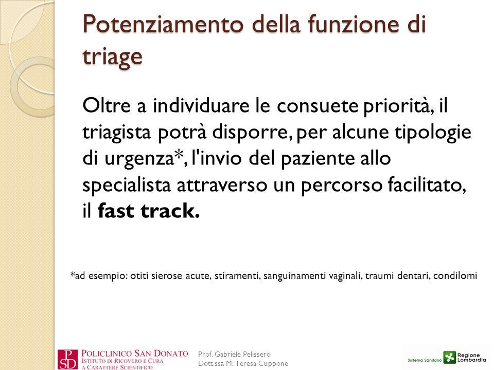 Prof. Gabriele Pelissero Dott.ssa M. Teresa Cuppone Potenziamento della funzione di triage Oltre a individuare le consuete priorità, il triagista potr