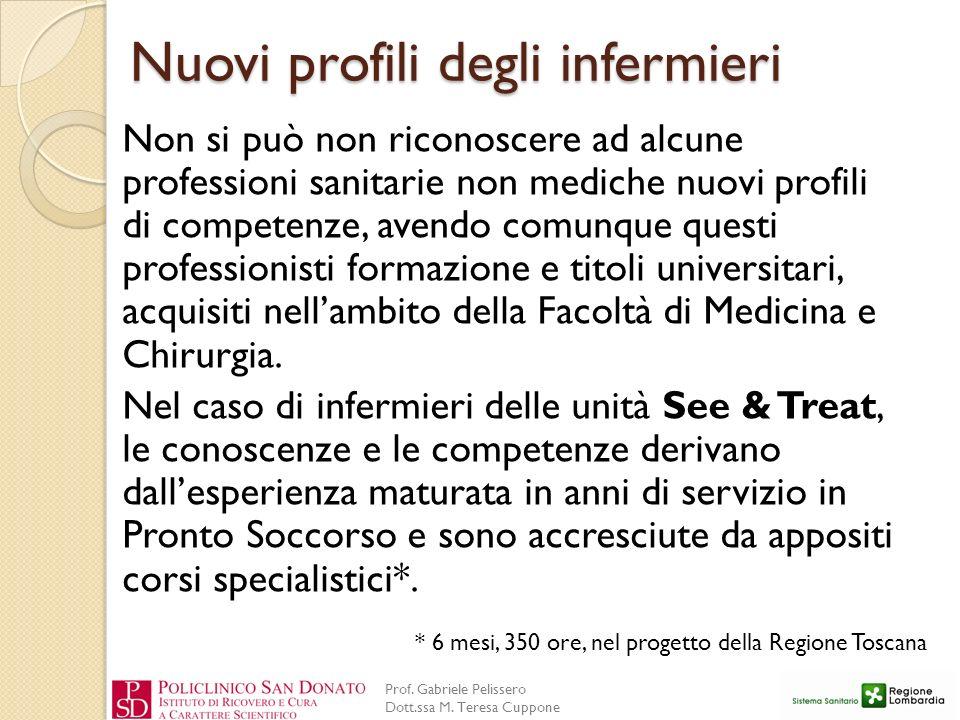 Prof. Gabriele Pelissero Dott.ssa M. Teresa Cuppone Nuovi profili degli infermieri Non si può non riconoscere ad alcune professioni sanitarie non medi