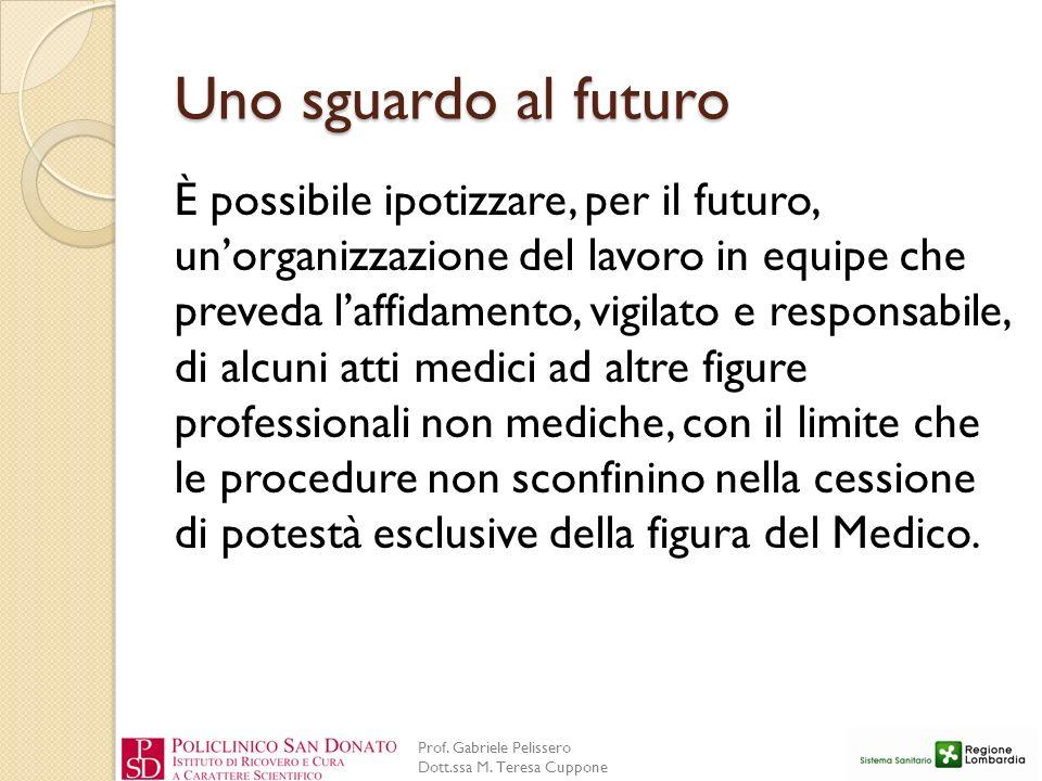 Prof. Gabriele Pelissero Dott.ssa M. Teresa Cuppone Uno sguardo al futuro È possibile ipotizzare, per il futuro, unorganizzazione del lavoro in equipe