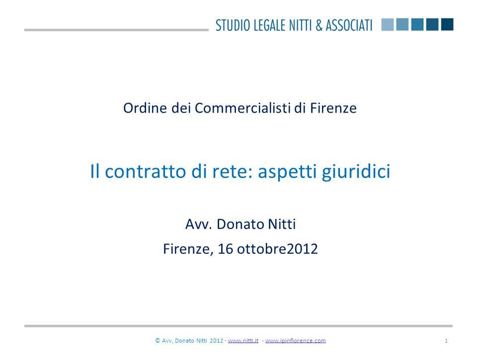 © Donato Nitti 2012 - www.nitti.it - www.ipinflorence.comwww.nitti.itwww.ipinflorence.com2 Il contratto di rete un nuovo contratto.
