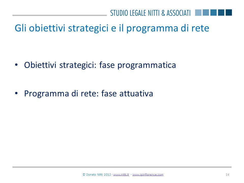 © Donato Nitti 2012 - www.nitti.it - www.ipinflorence.comwww.nitti.itwww.ipinflorence.com14 Gli obiettivi strategici e il programma di rete Obiettivi
