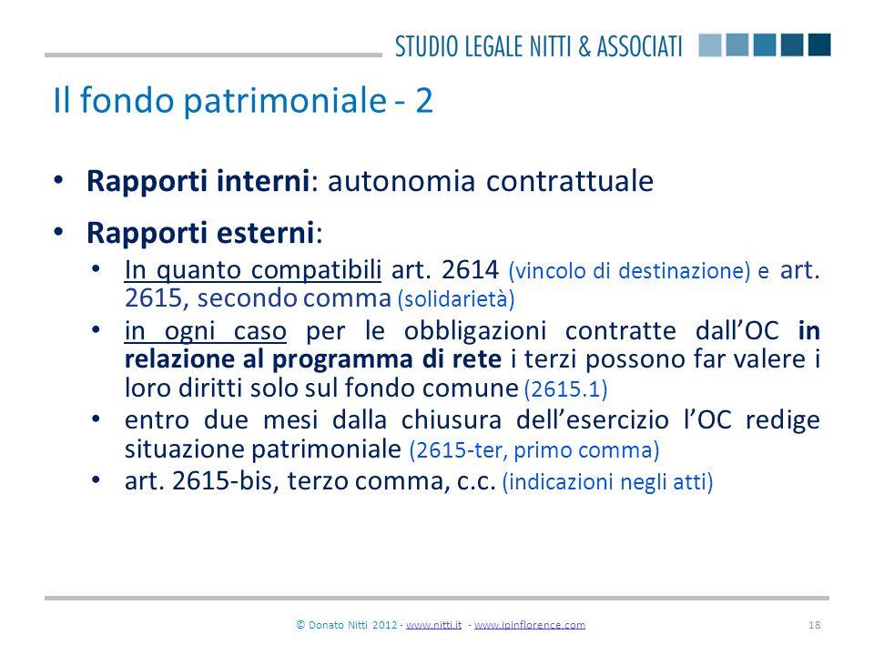 © Donato Nitti 2012 - www.nitti.it - www.ipinflorence.comwww.nitti.itwww.ipinflorence.com18 Il fondo patrimoniale - 2 Rapporti interni: autonomia cont