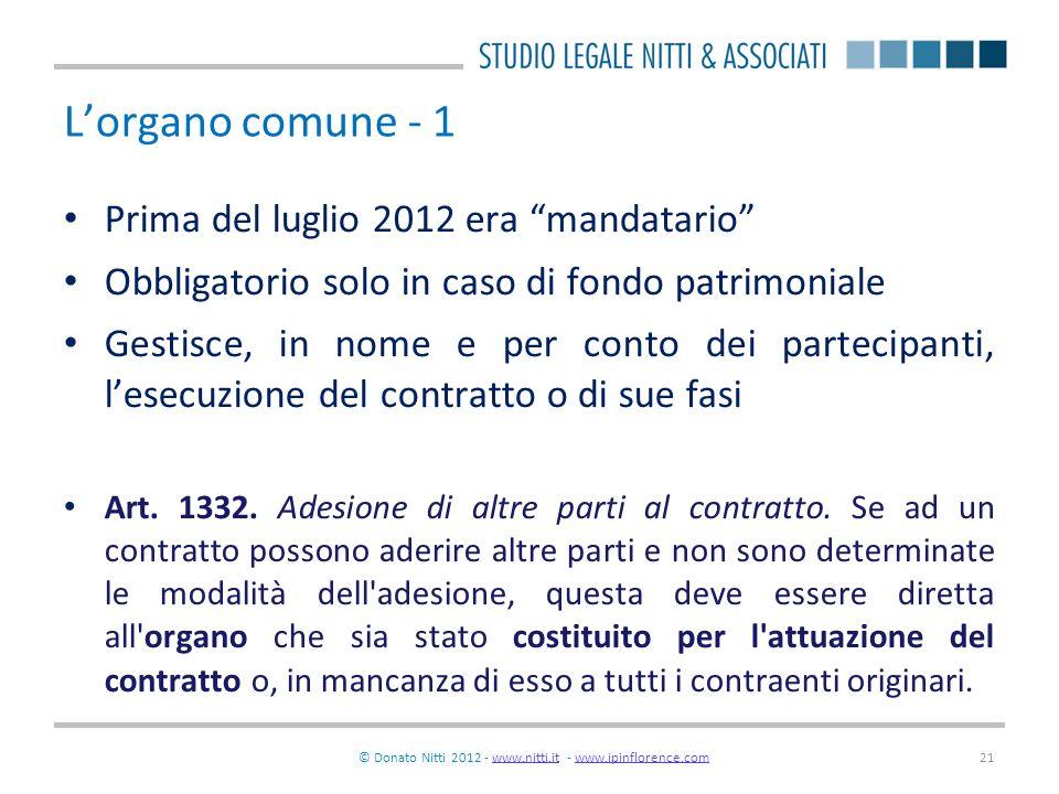 © Donato Nitti 2012 - www.nitti.it - www.ipinflorence.comwww.nitti.itwww.ipinflorence.com21 Lorgano comune - 1 Prima del luglio 2012 era mandatario Ob