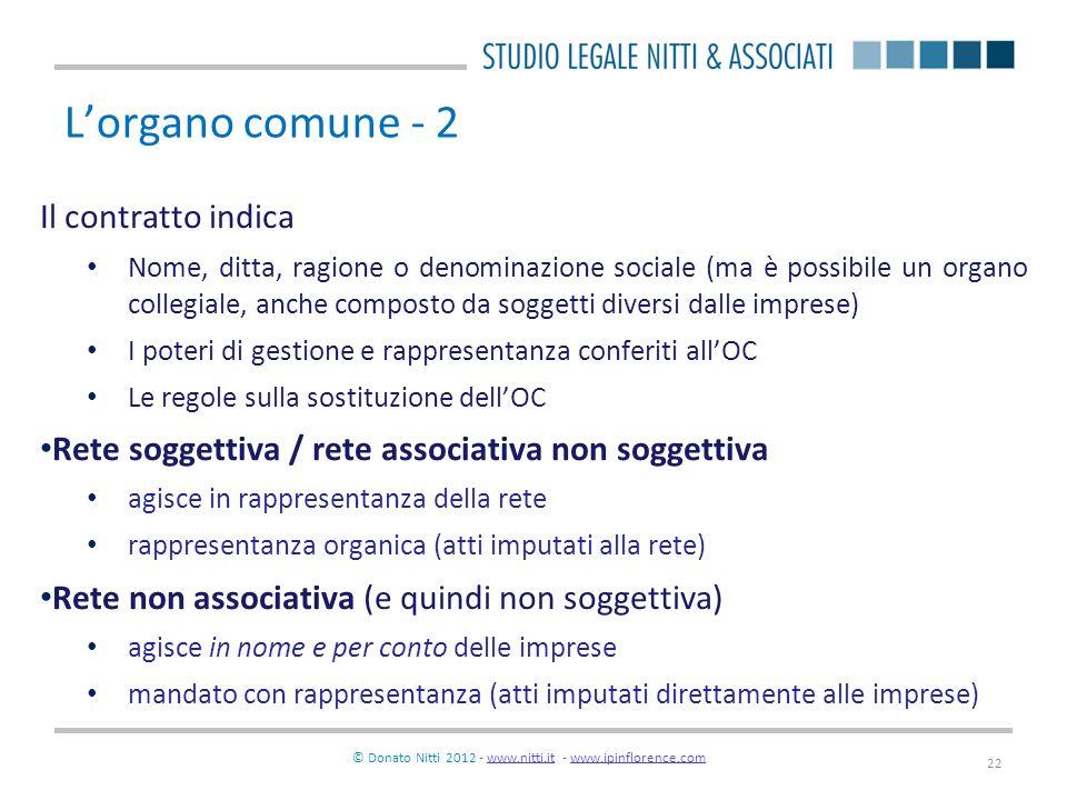 © Donato Nitti 2012 - www.nitti.it - www.ipinflorence.comwww.nitti.itwww.ipinflorence.com 22 Lorgano comune - 2 Il contratto indica Nome, ditta, ragio