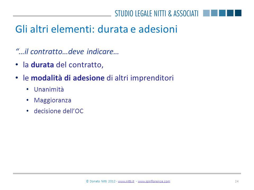 © Donato Nitti 2012 - www.nitti.it - www.ipinflorence.comwww.nitti.itwww.ipinflorence.com24 Gli altri elementi: durata e adesioni …il contratto…deve i