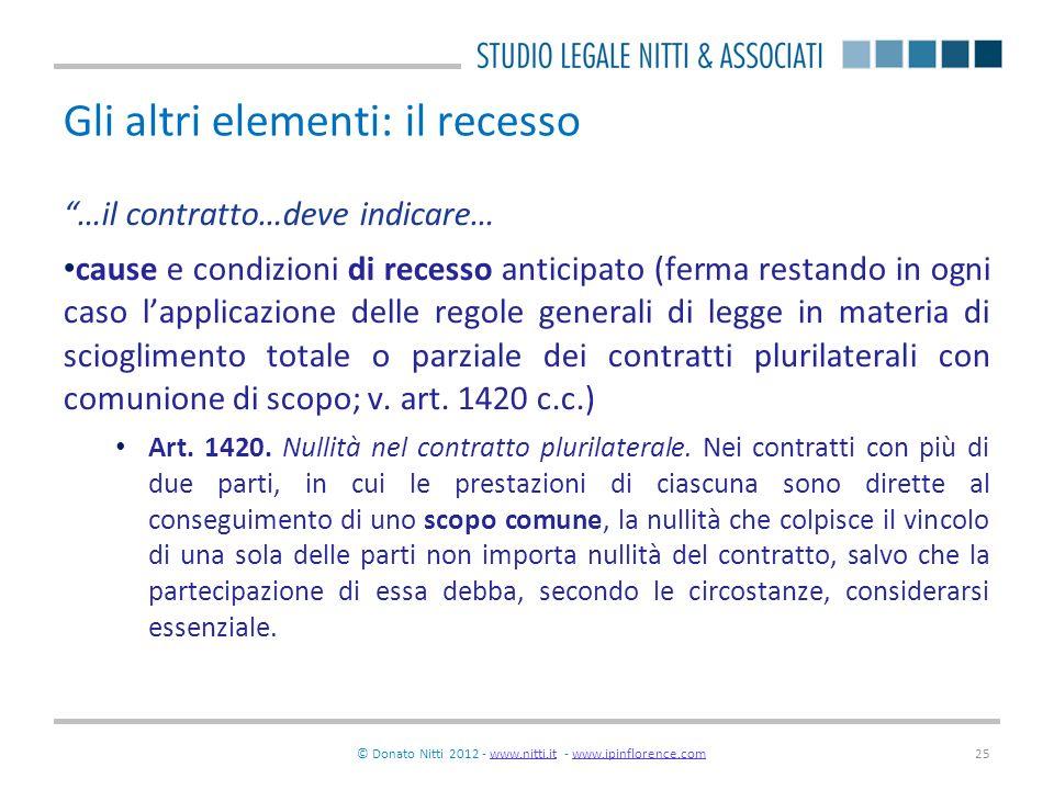 © Donato Nitti 2012 - www.nitti.it - www.ipinflorence.comwww.nitti.itwww.ipinflorence.com25 Gli altri elementi: il recesso …il contratto…deve indicare