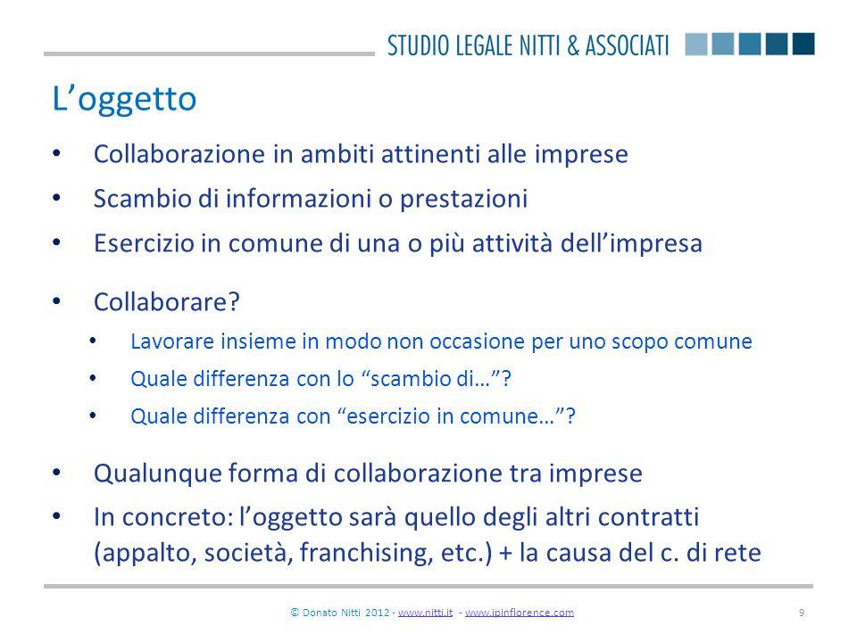 © Donato Nitti 2012 - www.nitti.it - www.ipinflorence.comwww.nitti.itwww.ipinflorence.com9 Loggetto Collaborazione in ambiti attinenti alle imprese Sc