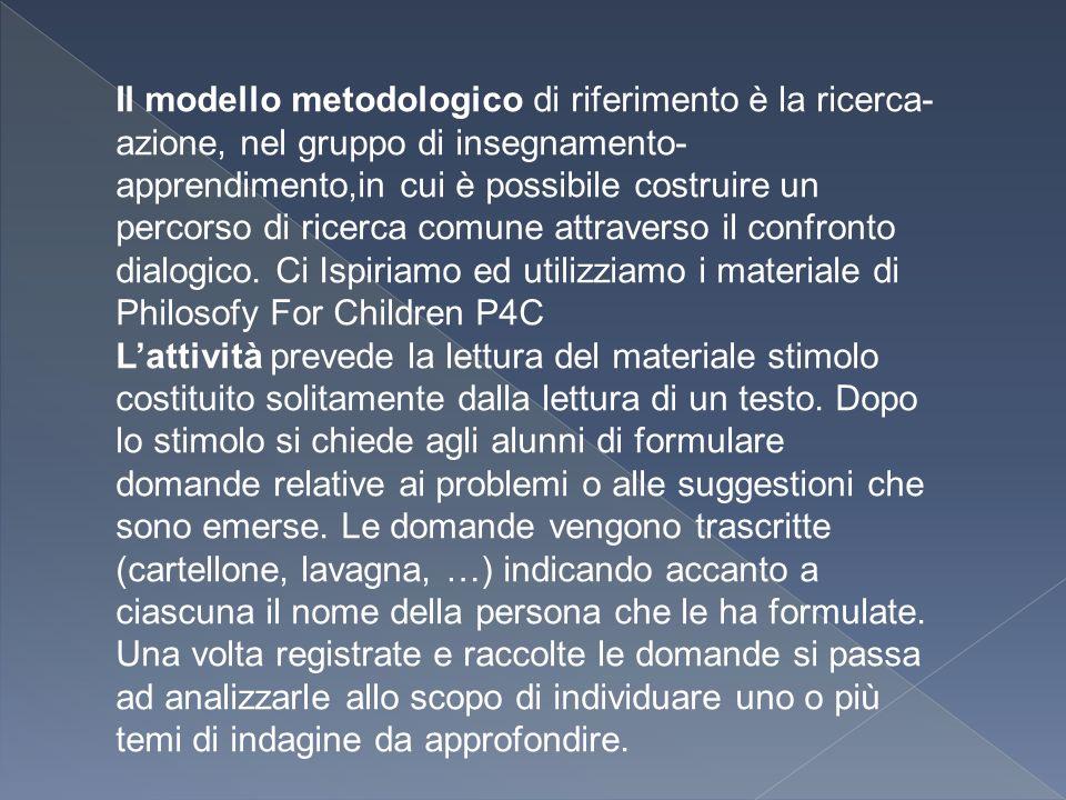 Il modello metodologico di riferimento è la ricerca- azione, nel gruppo di insegnamento- apprendimento,in cui è possibile costruire un percorso di ricerca comune attraverso il confronto dialogico.