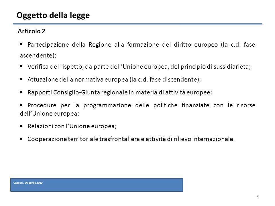 Fase ascendente Larticolo 4 disciplina la partecipazione della Regione alla formazione del diritto dellUnione Europea.