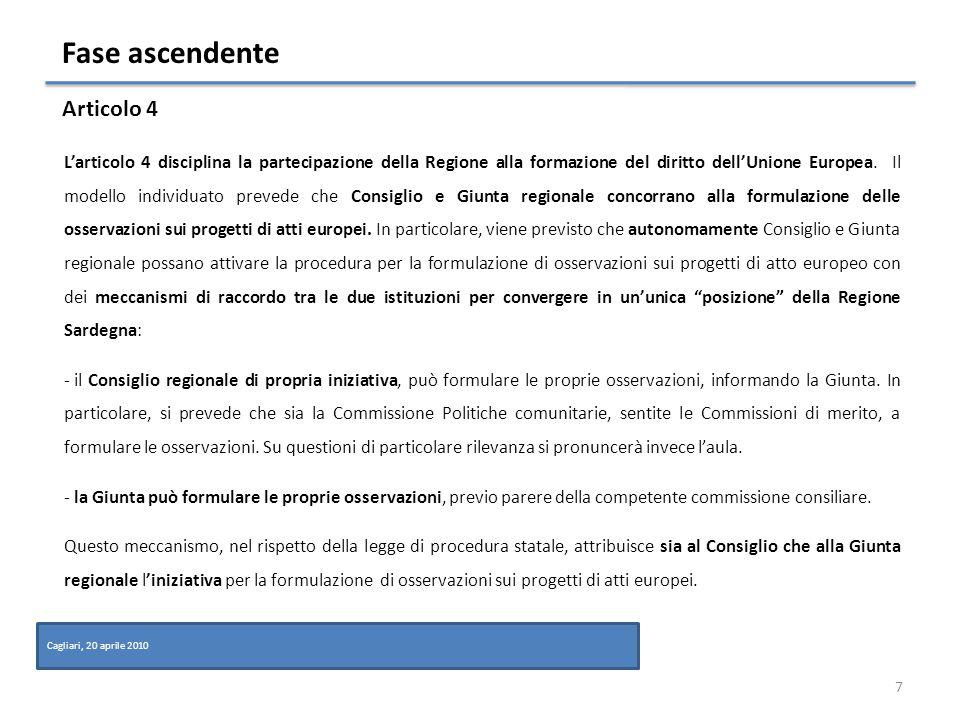 Partecipazione della regione alla formazione del diritto europeo (FASE ASCENDENTE) 8 Cagliari, 20 aprile 2010 Flusso informativo atti comunitari Presidente consiglio o Ministro Pol.