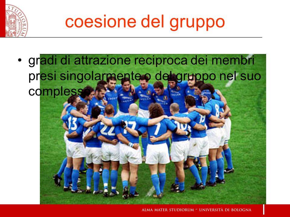 coesione del gruppo gradi di attrazione reciproca dei membri presi singolarmente o del gruppo nel suo complesso