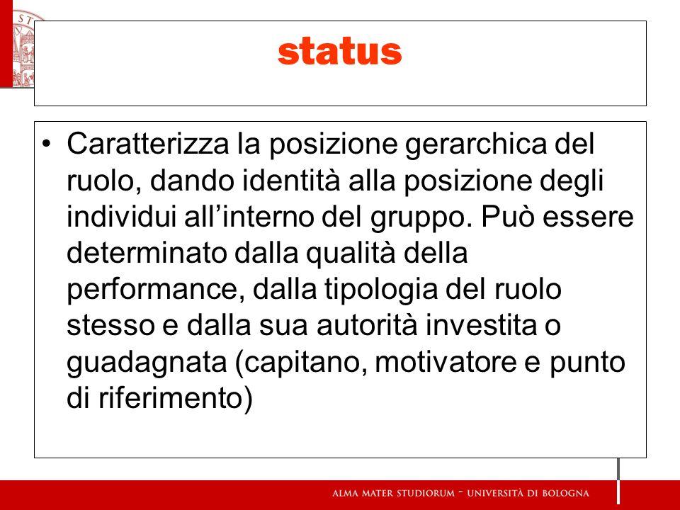 status Caratterizza la posizione gerarchica del ruolo, dando identità alla posizione degli individui allinterno del gruppo. Può essere determinato dal
