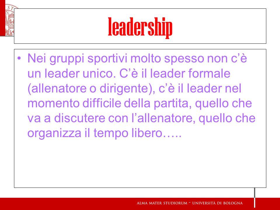 leadership Nei gruppi sportivi molto spesso non cè un leader unico. Cè il leader formale (allenatore o dirigente), cè il leader nel momento difficile