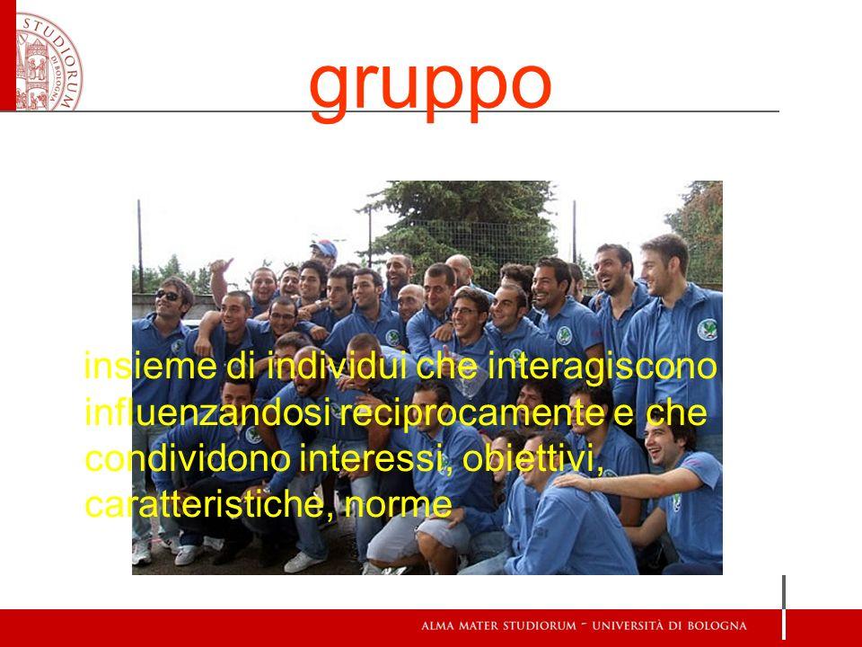 gruppo insieme di individui che interagiscono influenzandosi reciprocamente e che condividono interessi, obiettivi, caratteristiche, norme