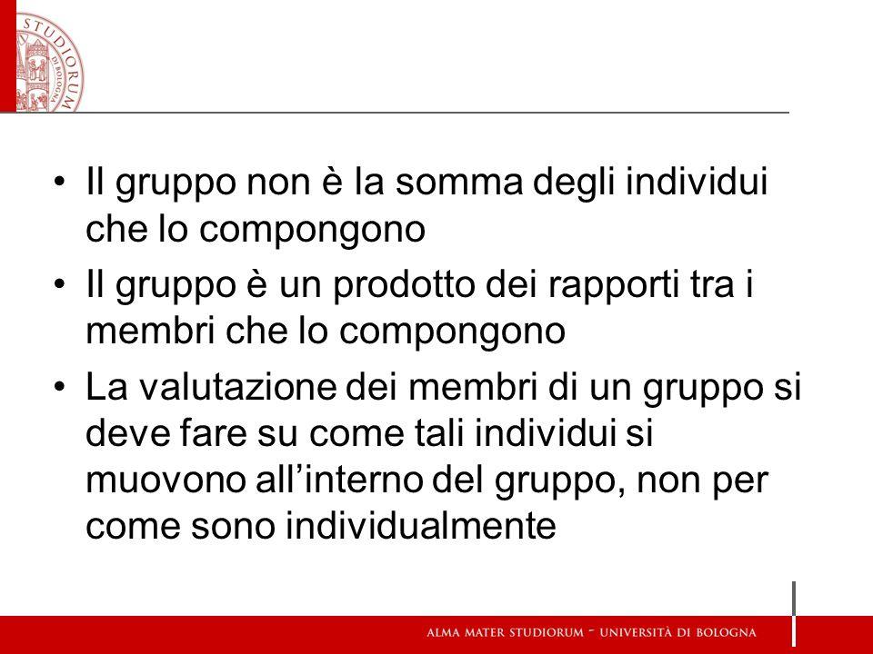 Il gruppo non è la somma degli individui che lo compongono Il gruppo è un prodotto dei rapporti tra i membri che lo compongono La valutazione dei memb