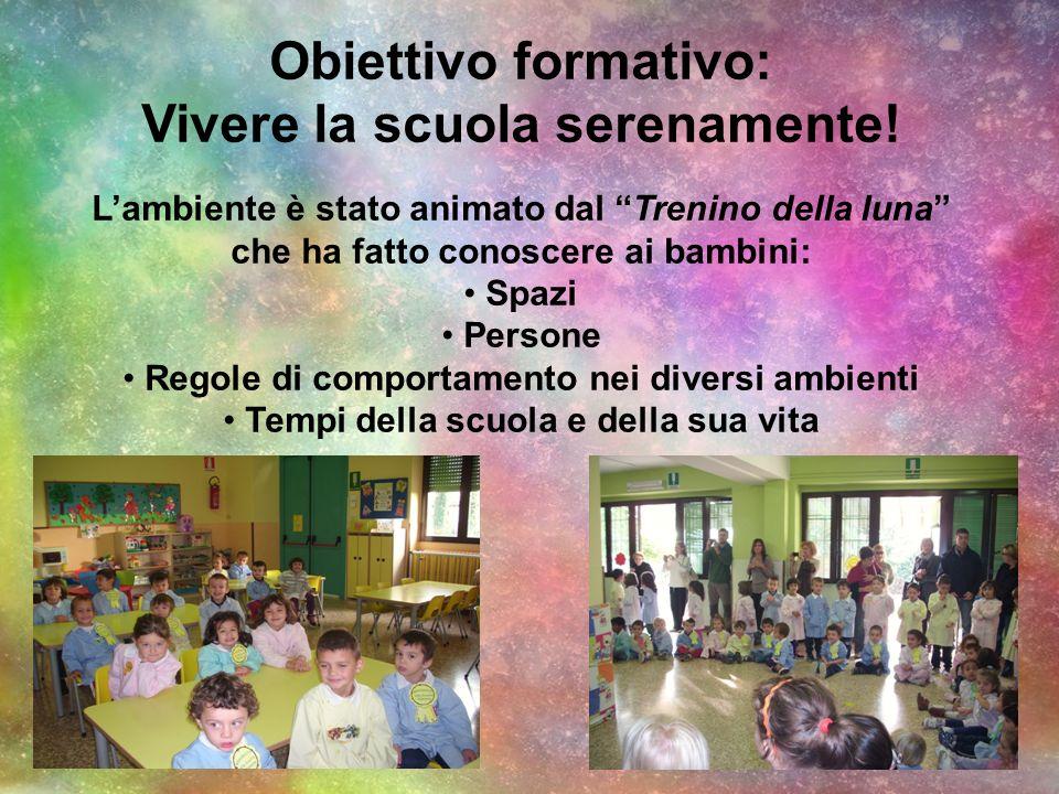 Obiettivo formativo: Vivere la scuola serenamente! Lambiente è stato animato dal Trenino della luna che ha fatto conoscere ai bambini: Spazi Persone R