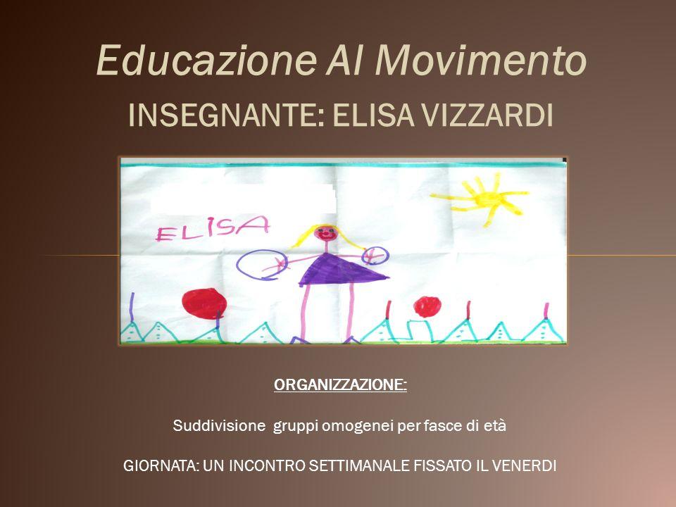 Educazione Al Movimento INSEGNANTE: ELISA VIZZARDI ORGANIZZAZIONE: Suddivisione gruppi omogenei per fasce di età GIORNATA: UN INCONTRO SETTIMANALE FIS