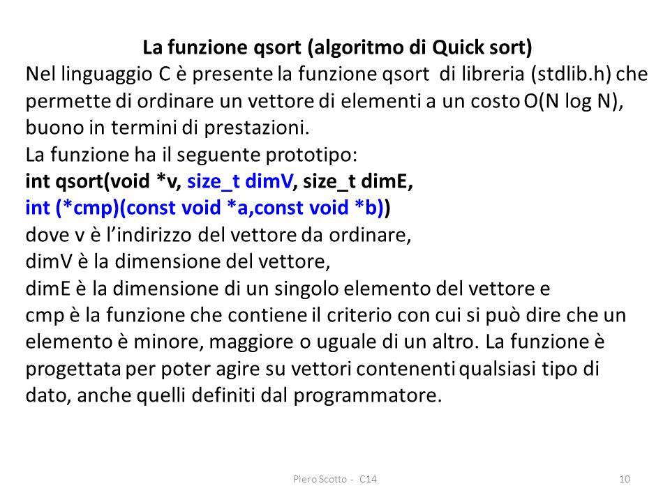 Piero Scotto - C1410 La funzione qsort (algoritmo di Quick sort) Nel linguaggio C è presente la funzione qsort di libreria (stdlib.h) che permette di ordinare un vettore di elementi a un costo O(N log N), buono in termini di prestazioni.
