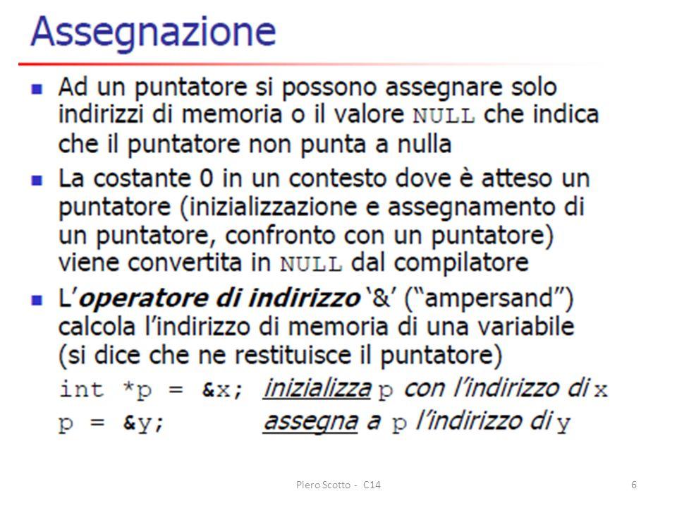 Piero Scotto - C1417 #include #define MAXPERSONE 100 #define LUNGNOME 32 /* definizione esterna perche sia visibile anche nel prototipo */ struct persona { char nome[LUNGNOME]; char cognome[LUNGNOME]; int eta; int salario; }; void ordina(struct persona pe[], int n); int main() { struct persona pers, persone[MAXPERSONE] = { , ,0,0}; FILE *fp; char file[FILENAME_MAX]; int i; int numPersone; /* numero di persone lette */