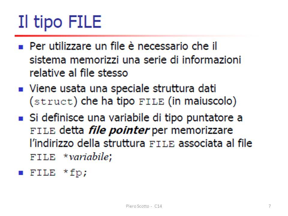 Piero Scotto - C1418 printf( Nome del file da leggere: ); gets(file); if ((fp=fopen(file, r )) == NULL) { fprintf(stderr, Non posso aprire il file: %s\n , file); return EXIT_FAILURE; } i=0; while (i<MAXPERSONE && fscanf(fp, %s%s%d%d , pers.nome, pers.cognome, &pers.eta, &pers.salario) == 4) persone[i++] = pers; if (!feof(fp)) fprintf(stderr, Ci sono piu di %d righe (ignorate)\n , MAXPERSONE); fclose(fp); numPersone = i; /* numero persone lette dal file */ ordina(persone, numPersone);
