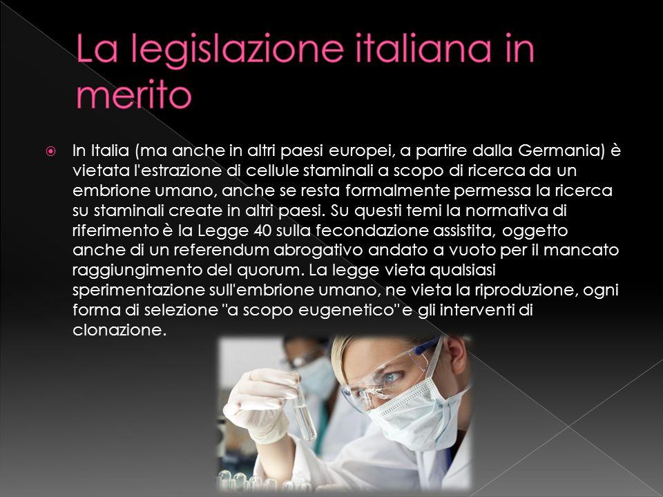 In Italia (ma anche in altri paesi europei, a partire dalla Germania) è vietata l'estrazione di cellule staminali a scopo di ricerca da un embrione um