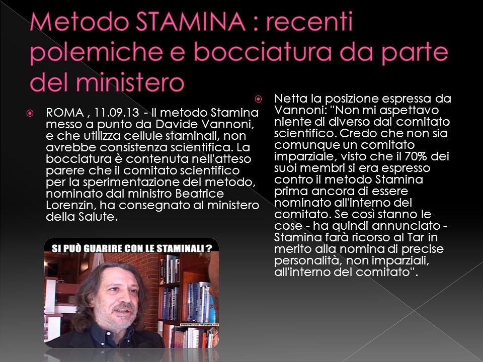 ROMA, 11.09.13 - Il metodo Stamina messo a punto da Davide Vannoni, e che utilizza cellule staminali, non avrebbe consistenza scientifica. La bocciatu