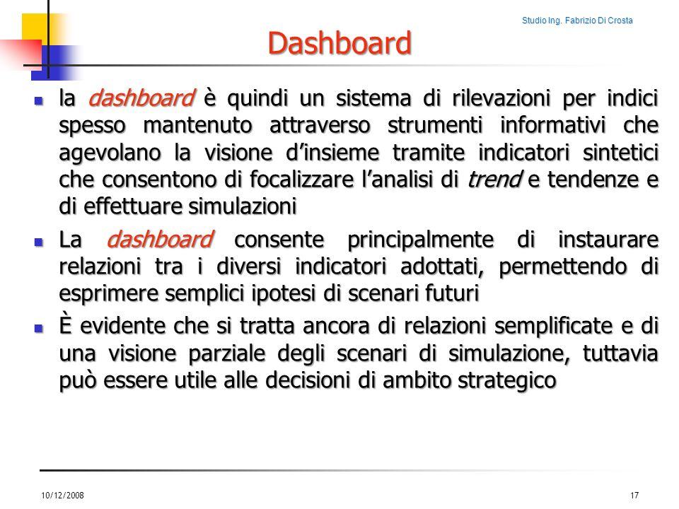 Studio Ing. Fabrizio Di Crosta Dashboard la dashboard è quindi un sistema di rilevazioni per indici spesso mantenuto attraverso strumenti informativi