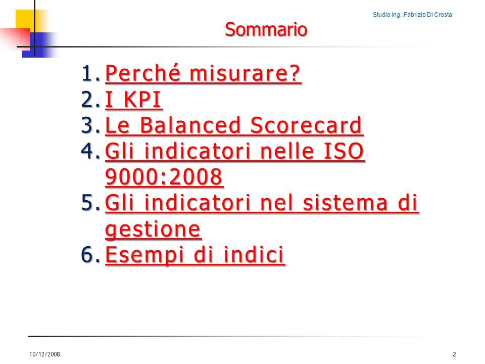 Studio Ing. Fabrizio Di Crosta 10/12/20082 1.Perché misurare? Perché misurare?Perché misurare? 2.I KPI I KPII KPI 3.Le Balanced Scorecard Le Balanced
