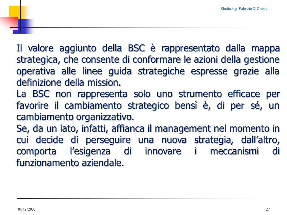 Studio Ing. Fabrizio Di Crosta 10/12/200827 Il valore aggiunto della BSC è rappresentato dalla mappa strategica, che consente di conformare le azioni