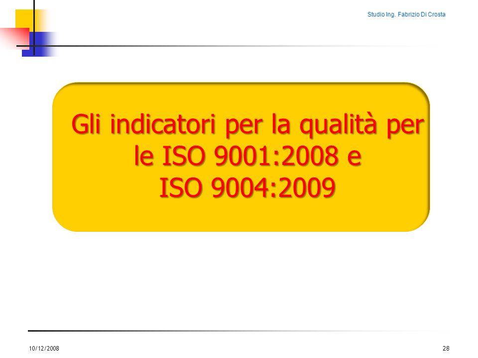 Studio Ing. Fabrizio Di Crosta 10/12/200828 Gli indicatori per la qualità per le ISO 9001:2008 e ISO 9004:2009