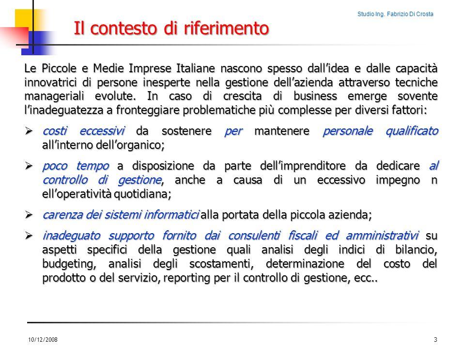 Studio Ing. Fabrizio Di Crosta 10/12/20083 Le Piccole e Medie Imprese Italiane nascono spesso dallidea e dalle capacità innovatrici di persone inesper