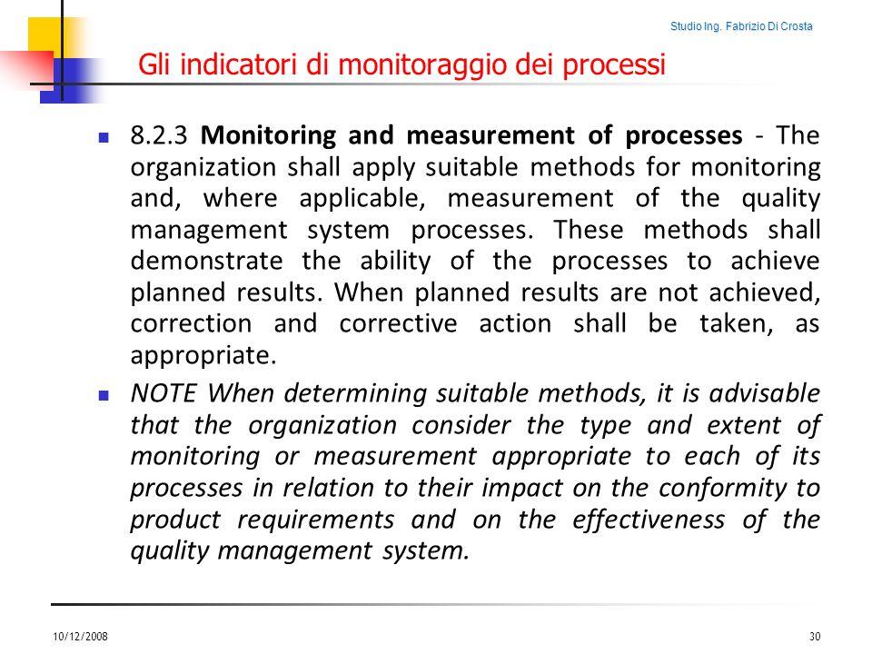 Studio Ing. Fabrizio Di Crosta Gli indicatori di monitoraggio dei processi 8.2.3 Monitoring and measurement of processes - The organization shall appl