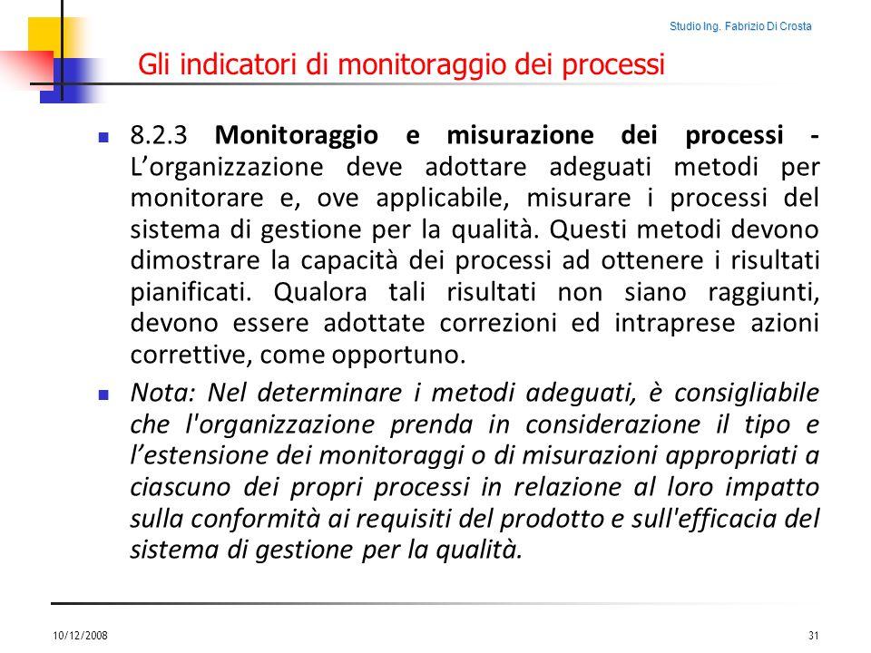 Studio Ing. Fabrizio Di Crosta Gli indicatori di monitoraggio dei processi 8.2.3 Monitoraggio e misurazione dei processi - Lorganizzazione deve adotta
