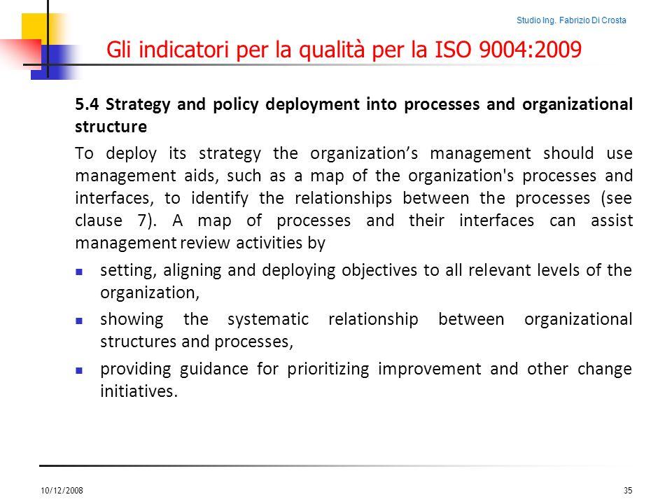 Studio Ing. Fabrizio Di Crosta Gli indicatori per la qualità per la ISO 9004:2009 5.4 Strategy and policy deployment into processes and organizational