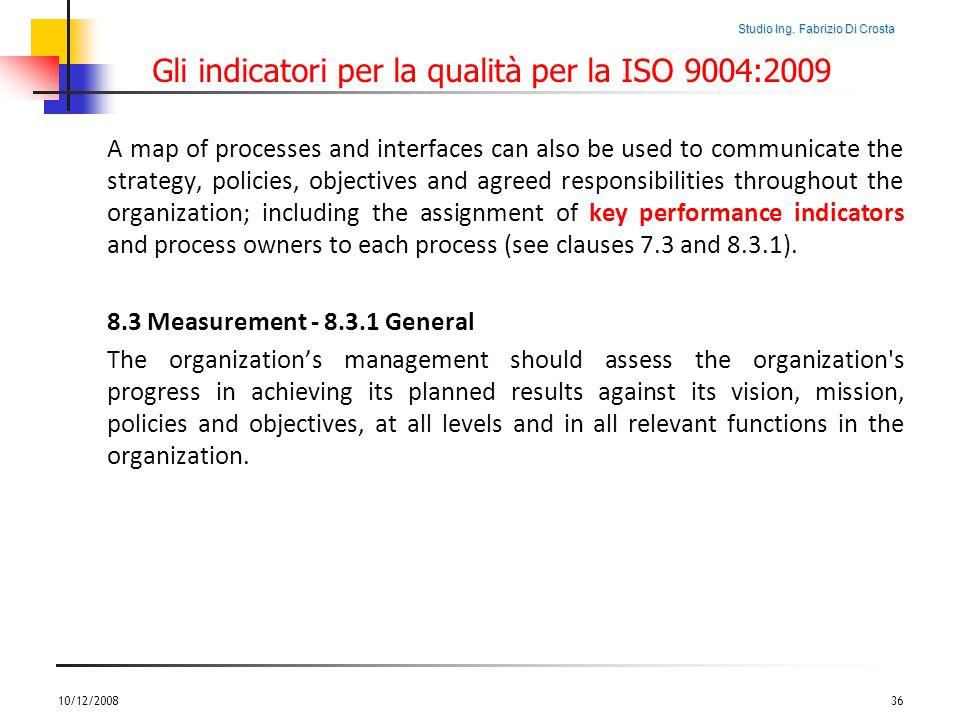 Studio Ing. Fabrizio Di Crosta Gli indicatori per la qualità per la ISO 9004:2009 A map of processes and interfaces can also be used to communicate th