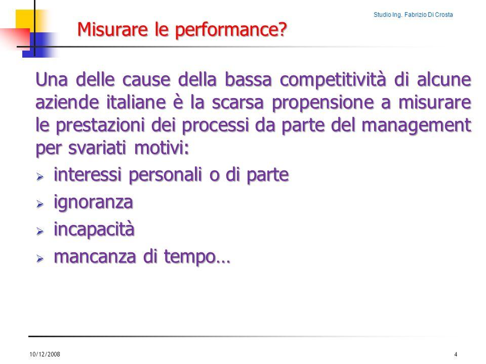Studio Ing. Fabrizio Di Crosta Misurare le performance? Una delle cause della bassa competitività di alcune aziende italiane è la scarsa propensione a