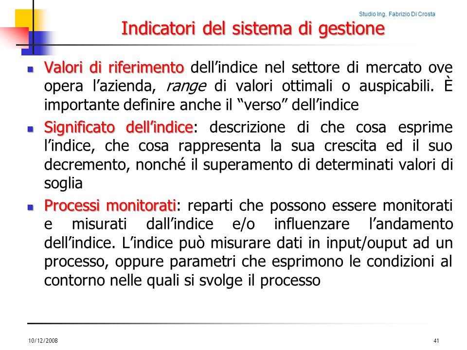 Studio Ing. Fabrizio Di Crosta Indicatori del sistema di gestione Valori di riferimento Valori di riferimento dellindice nel settore di mercato ove op