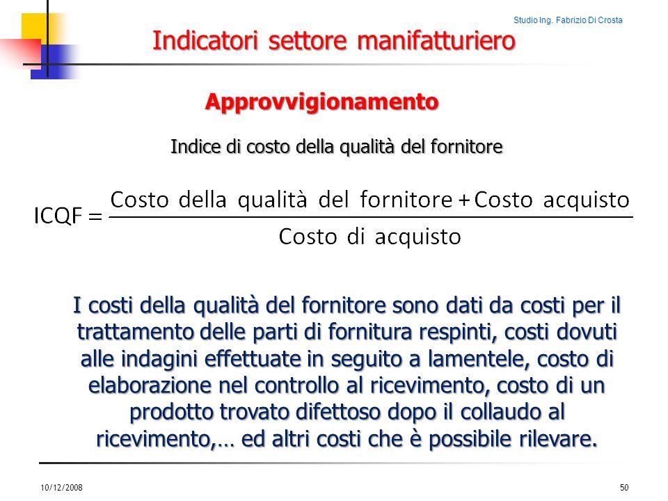 Studio Ing. Fabrizio Di Crosta Indicatori settore manifatturiero 10/12/200850 Approvvigionamento Indice di costo della qualità del fornitore I costi d