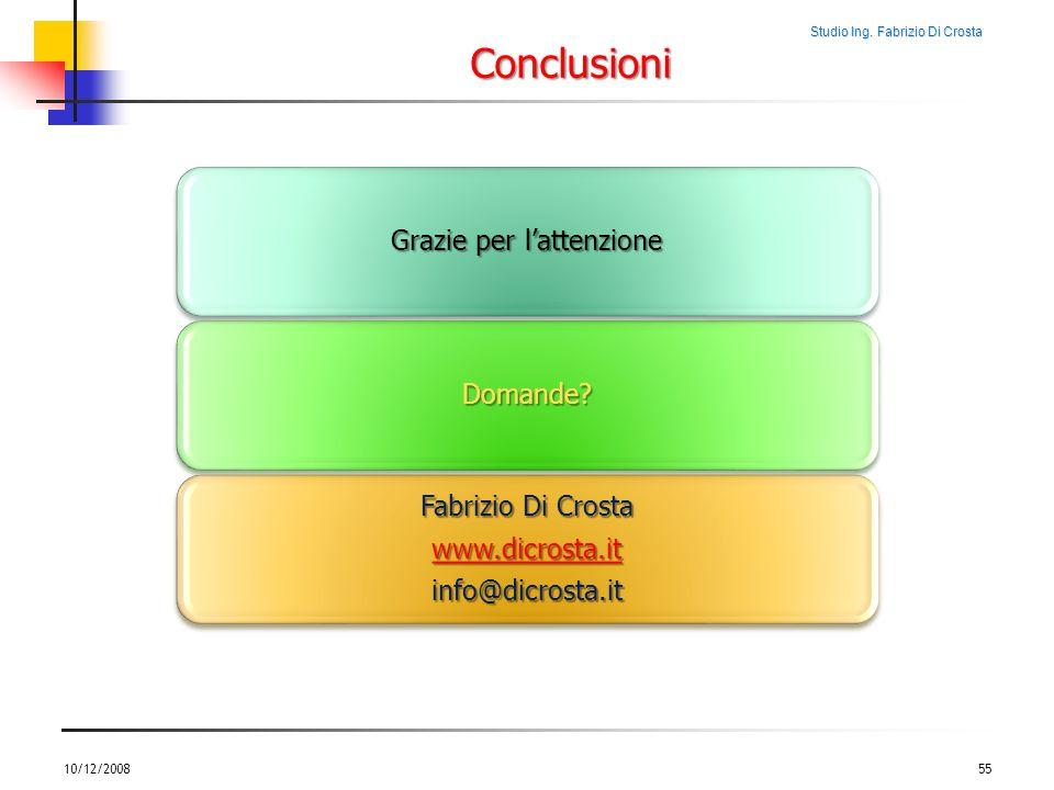 Studio Ing. Fabrizio Di Crosta Conclusioni 10/12/200855 Grazie per lattenzione Domande? Fabrizio Di Crosta www.dicrosta.it info@dicrosta.it