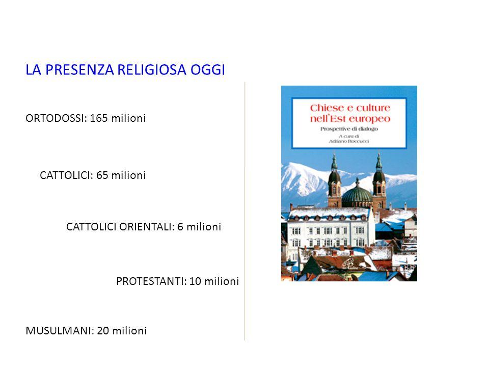 LA PRESENZA RELIGIOSA OGGI ORTODOSSI: 165 milioni CATTOLICI: 65 milioni CATTOLICI ORIENTALI: 6 milioni PROTESTANTI: 10 milioni MUSULMANI: 20 milioni